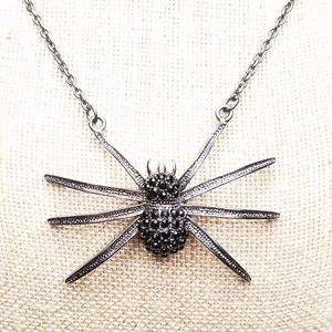 Big Black Rhinestone Spider Insect Long Necklace